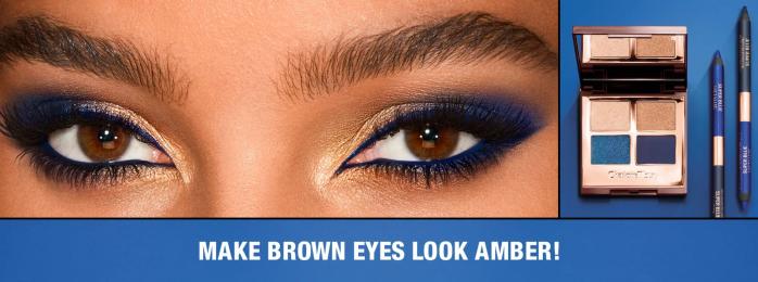 Charlotte Tilbury blue eyeshadow palette for brown eyes